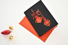 Christmas ornaments card paper cut card holidays by MintPaperCo