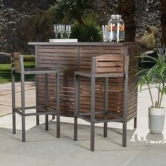 Milos Outdoor 3 Piece Acacia Wood Bistro Bar Set By Christopher Knight Home Brown Patio Furniture