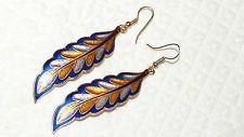 Vintage Gold Tone Yellow-Brown-Blue Enamel Feather Hook Earrings  VV59*
