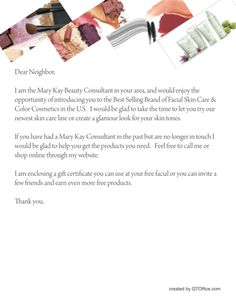 Use a Neighborhood Letter to Boost Your Mary Kay® Sales http://www.blog.qtoffice.com/bid/98528/Use-a-Neighborhood-Letter-to-Boost-Your-Mary-Kay-Sales