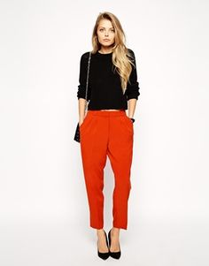 Search for asos peg trousers wi at ASOS. Shop from over styles, including asos peg trousers wi. Discover the latest women's and men's fashion online Red Trousers Outfit, Peg Trousers, Trouser Outfits, Red Pants, Trousers Women, Asos, Latest Outfits, Fashion Outfits, Evening Outfits