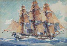 Une frégate, par Albert Brenet « On appelle Pavillons, des bannières faites d'étoffes légères, communément d'étamines, flottantes au gré du vent, attachées à un bâton élevé sur la poupe du vaisseau, qui servent à faire connaitre, soit par leur forme, soit par leurs couleurs, de quelle nation est le vaisseau. Chaque nation n'est pas bornée à un seul pavillon ; toutes celles de l'Europe en ont plusieurs tant pour distinguer les vaisseaux de guerre des vaisseaux marchands, que pour marquer le…