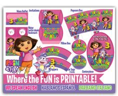 Super Party Kit DORA The Explorer personalized party printables birthday party toppers labels party hat popcorn box favor box supplies