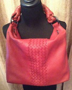 Authentic Bottega Veneta Shoulder Bag in Red  #BottegaVeneta #ShoulderBag