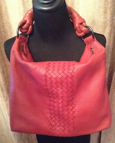 Authentic Bottega Veneta Shoulder Bag in Red  #BottegaVeneta #ShoulderBag