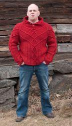 Мужской пуловер с высоким воротником спицами