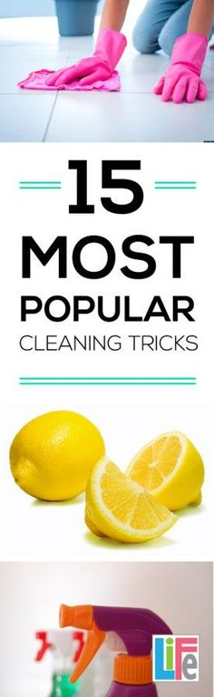 There are SOOO many cleaning trick- HERE are the TOP 15 Tricks for your home.  CLICK this website to read even more organizing and cleaning solutions.