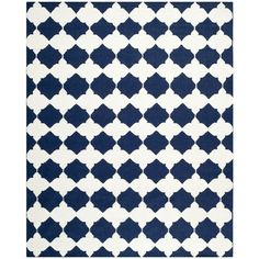 Safavieh Hand-woven Moroccan Reversible Dhurrie Navy Wool Rug (9' x 12') - Overstock™ Shopping - Great Deals on Safavieh 7x9 - 10x14 Rugs