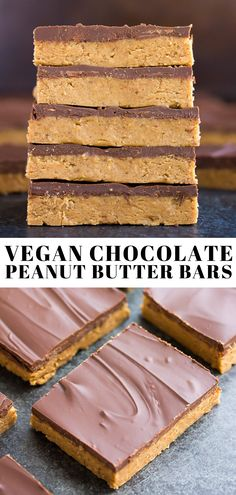 These Vegan Chocolate Peanut Butter Bars are no-bake, made with 5 ingredients and taste just like a peanut butter cup! These Vegan Chocolate Peanut Butter Bars are no-bake, made with 5 ingredients and taste just like a peanut butter cup! Peanut Butter Dessert Recipes, Peanut Butter Oatmeal Bars, Best Peanut Butter Cookies, Vegan Peanut Butter, Vegan Dessert Recipes, Chocolate Peanut Butter, Recipes With Vegan Butter, Vegan Chocolate Bars, Peanut Recipes