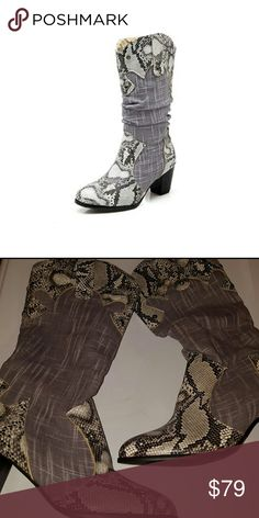 Awesome Snakeskin pattern boots Vegan leather.  Soft sides.  Rubber bottoms. Boutique  Shoes Heeled Boots
