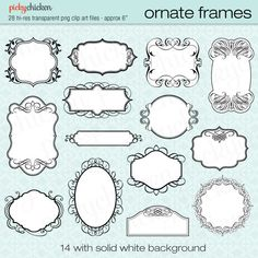 28 Ornate Frames - wedding invitation clipart, photograph borders, black white tags labels Instant Digital Download 5006