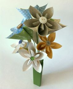 Hello There! Bouquet - origami bouquet, paper flower bouquet, stampin up dsp