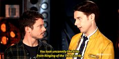 Image result for dirk gently jumping gif