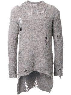 Maison Mihara  Ditressed Long Hem Jumper · MannersDsPeacockJumperStreet wear  Street stylesSuspendersPeafowlWomens sweaters 8675c547d
