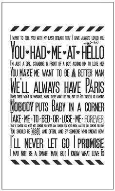 Tea towel 'Movie Love Quotes'