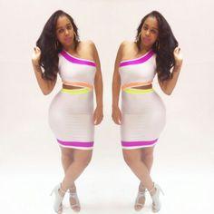 One shoulder strip dress