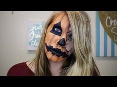 Half Face Torn/Cracked Pumpkin Makeup using ONLY EYESHADOWS: HALLOWEEN TUTORIAL | CocoBeth Beauty - YouTube