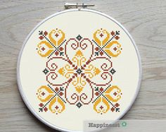modern cross stitch pattern flower ornament por Happinesst en Etsy