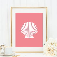 Scallop Wall Art, Coral, Shell Print, Wall Decor, Digital Print, Coral Shell, Instant Download, Printable Art, Minimalist Home Decor on Etsy, $5.00