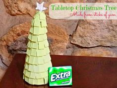 Make a tabletop Christmas tree from sticks of gum for a quick holiday DIY craft. #GiveExtraGum #shop #cbias