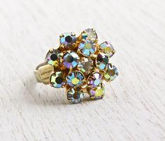 SALE  Vintage Aurora Borealis Rhinestone Ring  by MaejeanVintage, $16.00