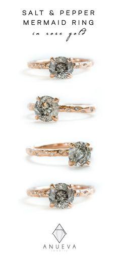 SALT & PEPPER Organic Ring in Rose Gold by Anueva Jewelry #saltandpepperdiamond #greydiamond #rosegold #engagementring