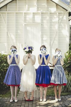 bride + bridesmaids in blue vintage dresses // photo by DanODayPhotography.com.au