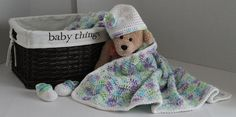 Baby Set  Ripple Blanket with Hat and Mary by SnugableTouches, $50.00