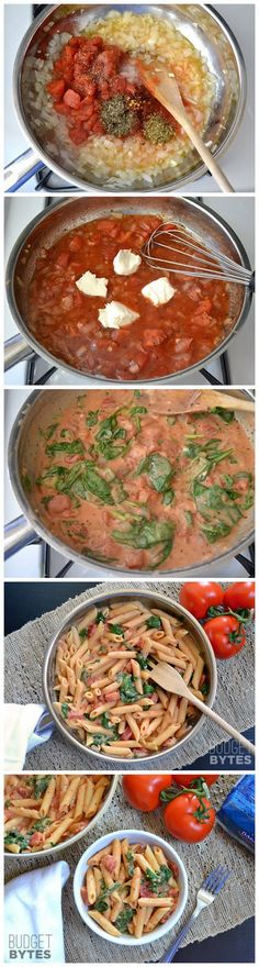 Creamy Tomato And Spinach Pasta - tried with a variation with ricotta - pretty good.