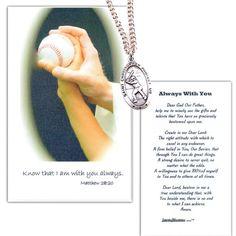 Pewter St. Christopher Medal - Baseball. Laminated boys baseball prayer card