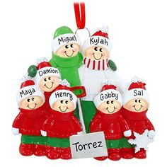 Family of 7 with Snow Shovel Personalized Christmas Tree Ornament *** Check out the image by visiting the link.