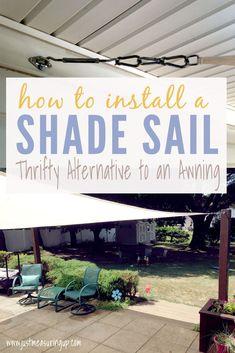 Shade Sail Installation Get some summer shade with a shade sail! Easy instructionsGet some summer shade with a shade sail! Deck Shade, Backyard Shade, Outdoor Shade, Canopy Outdoor, Pergola Shade, Shade For Patio, Sun Shades For Patios, Back Yard Shade Ideas, Shade Ideas For Backyard