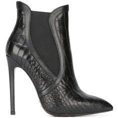 Gianni Renzi stiletto ankle boots (10,850 EGP) ❤ liked on Polyvore featuring shoes, boots, ankle booties, black, short leather boots, short boots, leather booties, black leather ankle booties and black stilettos