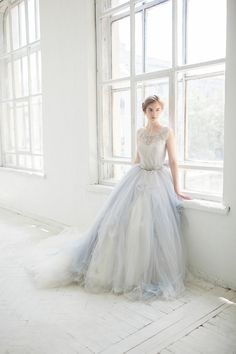 This listing is for 2 pieces - delightful icy grey wedding gown Gardenia + ivory tulle underskirt. The top part of the dress is made with unique