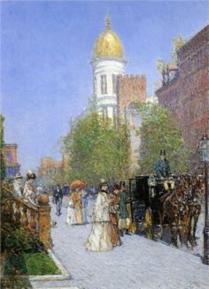 Childe Hassam (American 1859–1935) [American Impressionism, The Ten] A New Year's Nocturne, New York, 1892.