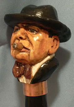Winston Churchill carved on a walking stick for Louis Grumet by Pat Harris. Walking Sticks And Canes, Walking Canes, Wood Sculpture, Sculptures, Going Insane, Wood Worker, Winston Churchill, Wood Carvings, Hats For Men