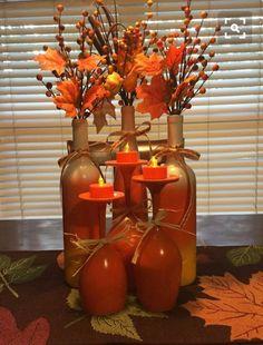 Cheap Crafts Diy Home Decoration Ideas Fall Diy Fall Crafts diy fall wine bottle crafts Wine Glass Crafts, Wine Craft, Wine Bottle Crafts, Jar Crafts, Kids Crafts, Fall Wine Bottles, Crafts Cheap, Diy Bottle, Bottle Art