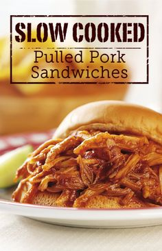Slow Cooked Pulled Pork Sandwiches - These fabulous sandwiches feature pork shoulder that is slow-cooked in a scrumptious, sweet and tangy sauce to be served on sandwich buns.