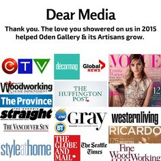 Some of our 2015 Media love. Thank you! In 2015, Global News, The Province, Thing 1 Thing 2, Home Crafts, Your Design, Appreciation, Artisan, Love You