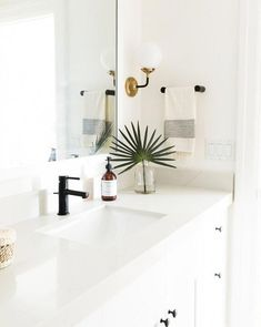 This bistro single-light sconce is made of hand-rubbed brass. The modern lighting will add character to your home & fill it with a soft glowing light. Modern Bathroom Lighting, Boho Bathroom, Bathroom Trends, Bathroom Colors, Bathroom Styling, Bathroom Sets, White Bathroom, Modern Lighting, Rental Bathroom