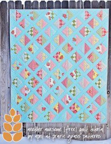 Free Quilt Pattern - would also be cute with strip pieced bright squares on black background