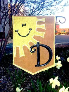 Burlap Garden Flag With a Happy Sunshine and by ModernRusticGirl