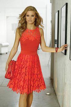Linea Raffaelli orange/red dress - Catherines of Partick Dress Me Up, Dress For You, Traje A Rigor, Cute Cocktail Dresses, Cocktail Dresses Wedding Guest, 21st Birthday Outfits, Knee Length Cocktail Dress, Evening Dresses, Formal Dresses