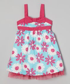 This Blue Floral Bow Dress - Infant, Toddler & Girls by Penelope Mack is perfect! #zulilyfinds