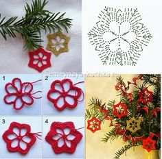 Crochet Patterns Christmas how to tie a snowflake Crochet Snowflake Pattern, Crochet Stars, Crochet Snowflakes, Crochet Motif, Crochet Doilies, Crochet Flowers, Kids Crochet, Crochet Books, Crochet Stitch