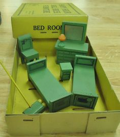 Vtg Doll House Miniature Jaymar Happy Hour Wooden Bed Room Furniture in box | eBay