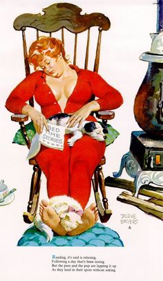 Hilda - asleep in rocking chair, bedtime storybook and dog on lap, kitten asleep on her feet