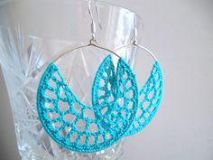 Sky blue summer crochet earrings, aqua hoop earrings, turquoise beach earrings, lace ocean pastel earrings, gypsy boho earrings