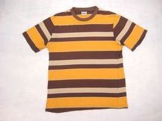 1970s Sriped Surf Skate Tee Vintage Retro Yellow Brown Styled in California Encino Fairmont Slim Fit Beach T-Shirt Small Medium