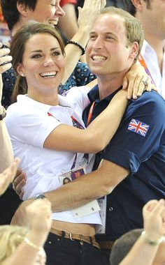 So cute together! Kate and Wills watch the London 2012 Olympics.